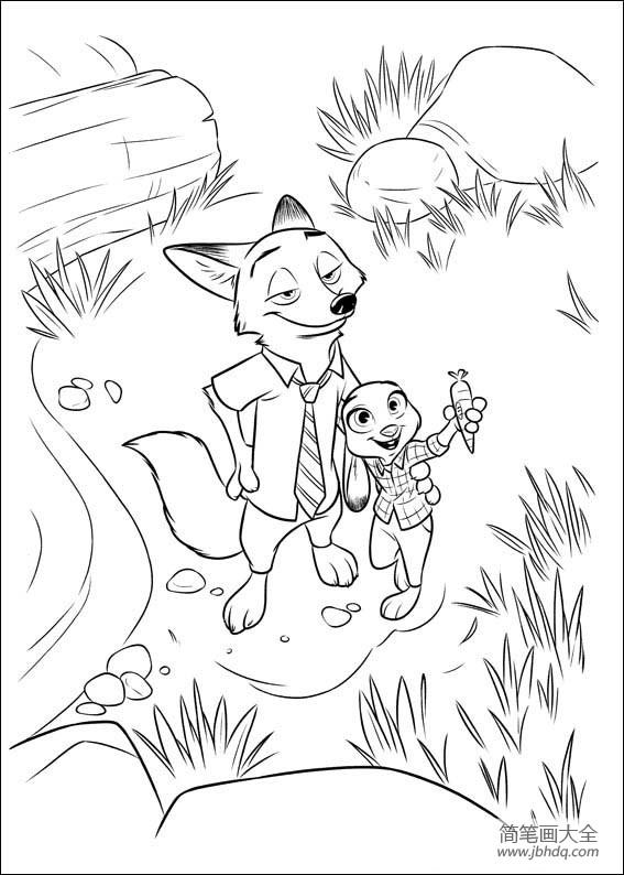 动漫人物简笔画 疯狂动物城 动物简笔画图片