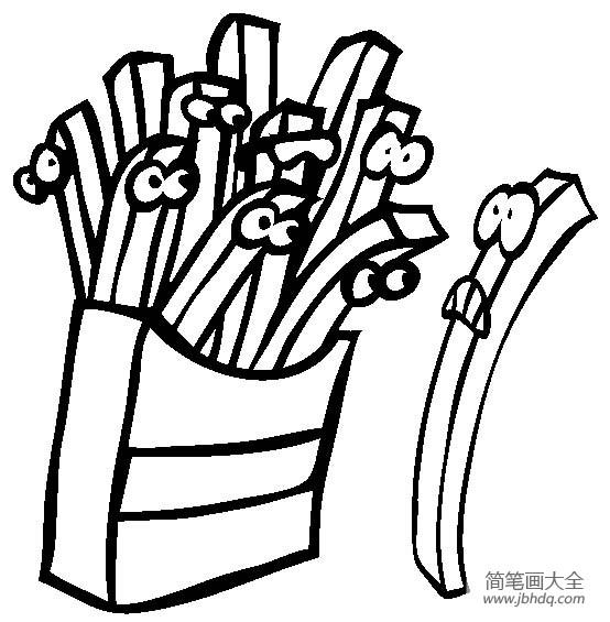 炸薯条简笔画图片