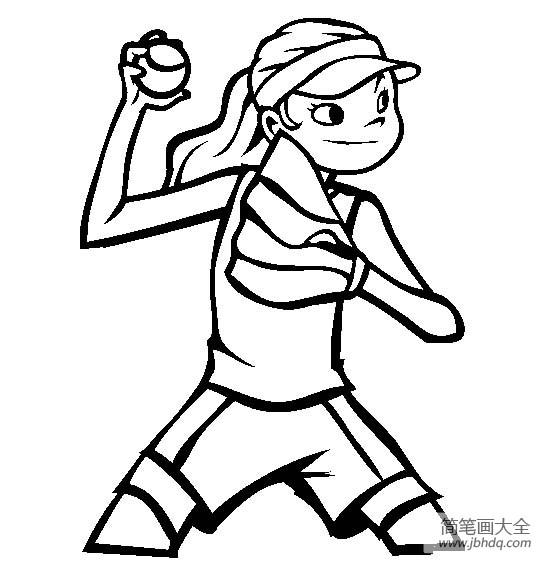 体育运动简笔画图片大全_体育运动图片,垒球简笔画图片