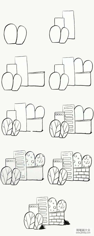 建筑简笔画大全图片_简笔画教程,关于建筑的简笔画步骤图