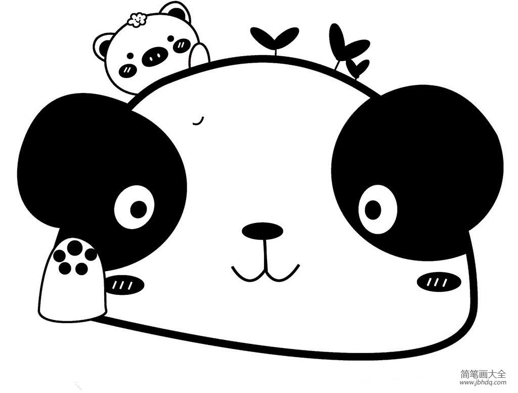 大熊猫图片简笔画可爱_可爱大熊猫简笔画图画