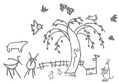 简笔画动物图画大全_春天的柳树简笔画图画