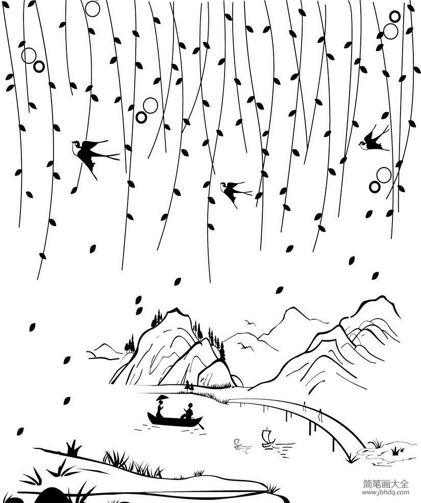 [春天的柳树简笔画]春天的柳树简笔画