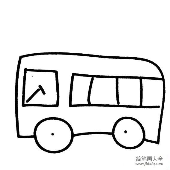公共汽车简笔画 百人简笔画 儿童简笔画图片