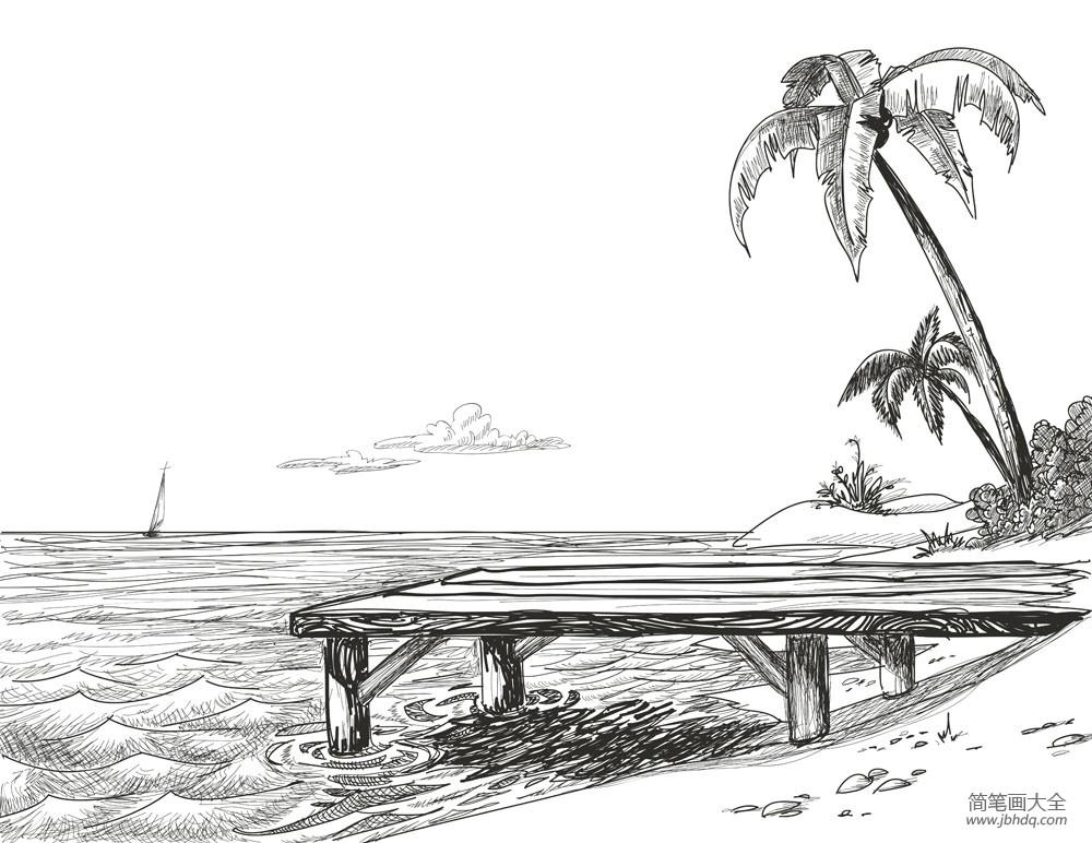 椰子树图片简笔画|小学生简单的椰子树简笔画图片