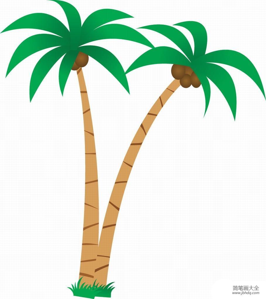 椰子树图片简笔画_2016年幼儿简笔画椰子树画法