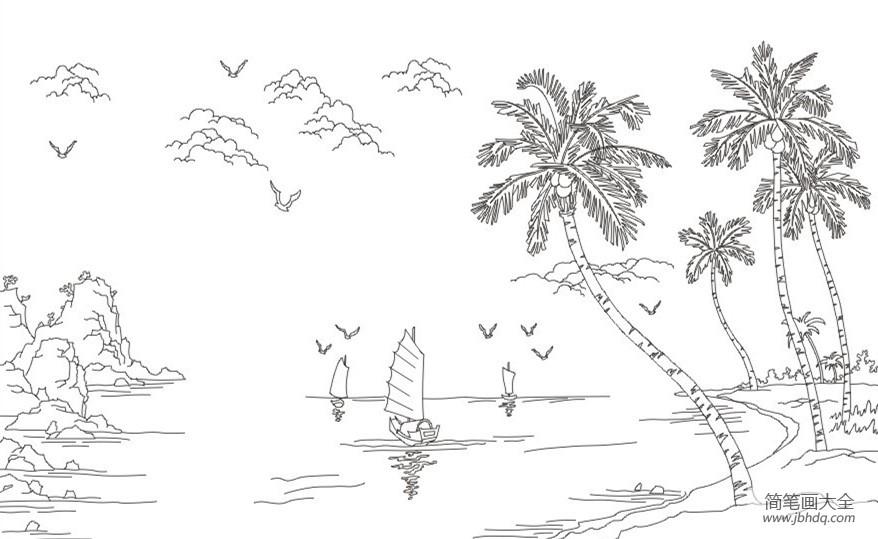 沙滩上的椰子树简笔画图片大全|沙滩上的椰子树简笔画图片