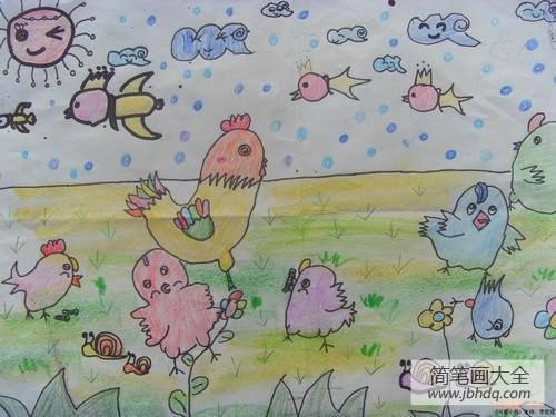 可爱的小鸡作文|可爱的小鸡们儿童画画作品
