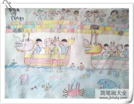 端午节划龙舟的来历_端午节划龙舟儿童画画作品