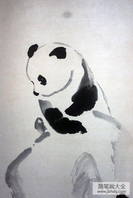 顽皮豹|顽皮的大熊猫水墨国画