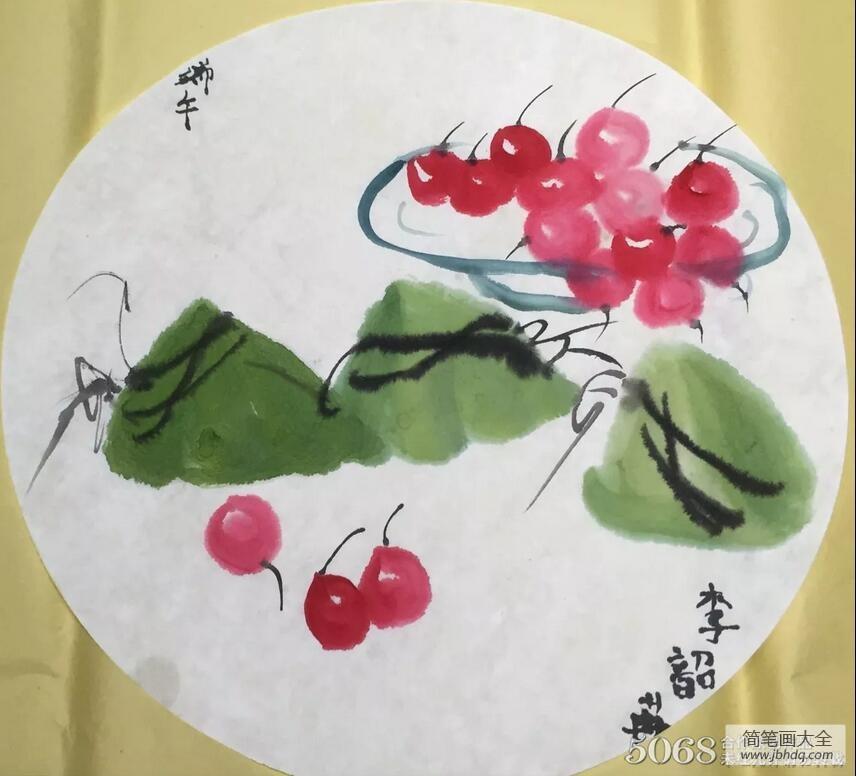 【端午节粽子的由来】水墨粽子端午节国画