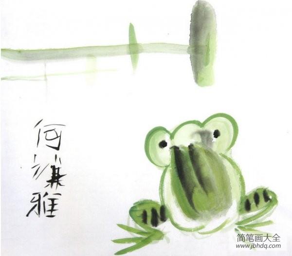 绿皮火车_绿皮青蛙儿童动物国画作品
