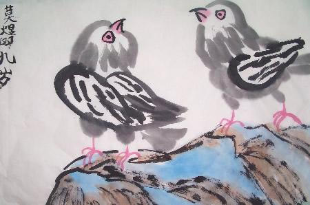 [愤怒的小鸟石头画]石头上的小鸟