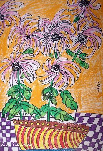 秋天的玉米怎么描写_秋天的菊花怎么形容 秋天菊花儿童画-盛开的菊花 - 儿童水粉画 ...