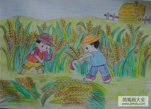 儿童画画学习_儿童画秋天的景色-秋天小麦大丰收