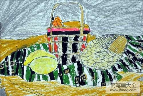 儿童画画学习_儿童画秋天的图画-丰收的景象