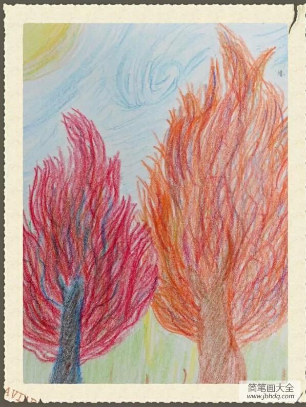 儿童画画学习_儿童画秋天教师范画-秋天的树