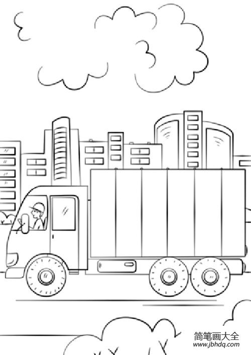 【简笔画货车的画法】运输途中的货车简笔画
