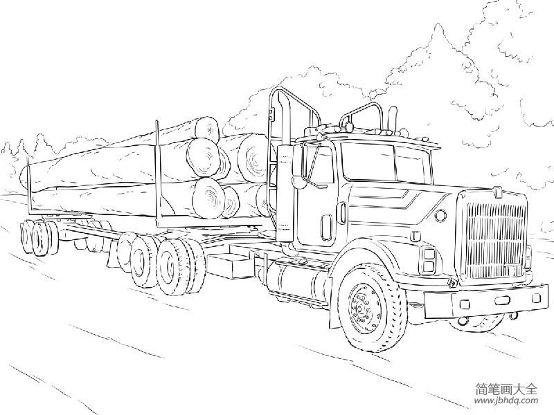 【原木家具】原木运输车简笔画图片
