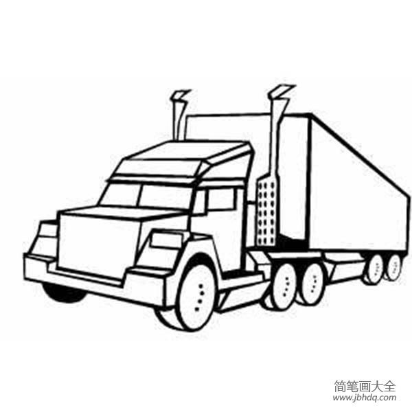 [画大货车简笔画]大货车怎么画