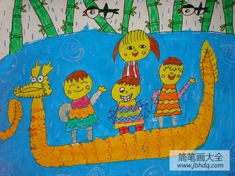 端午节赛龙舟的图片_端午节儿童画赛龙舟图片-我们胜利了