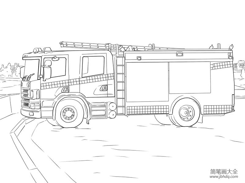 消防车怎么画|教你画消防车