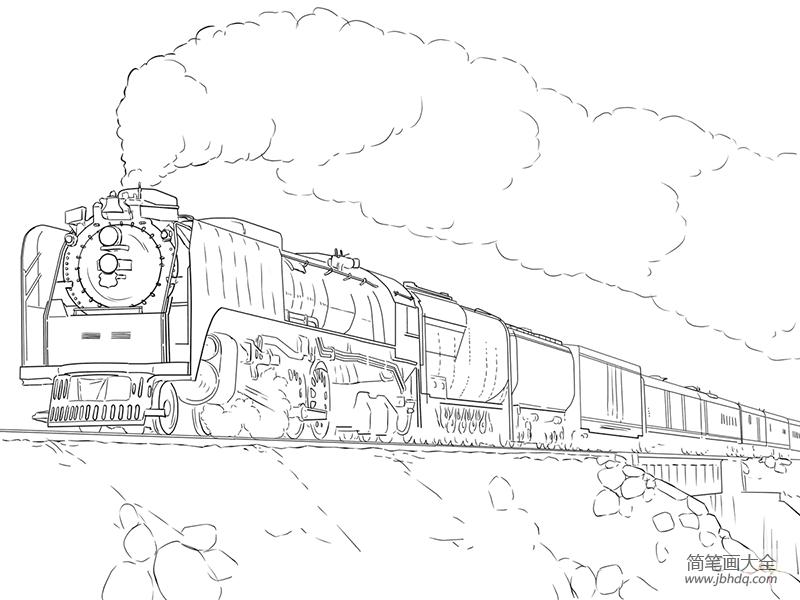 简笔画火车的画法_火车的画法