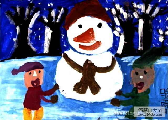 儿童画画学习|儿童画冬天的图画-我们和小雪人在一起