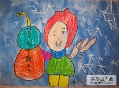 儿童画画学习_儿童画我眼中的冬天-不一样的小雪人