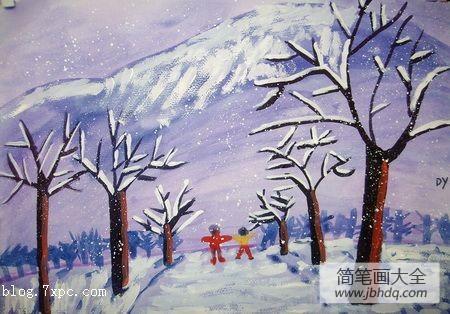 儿童画画学习_儿童画冬天图片-观赏冬天的大山