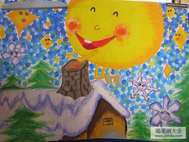 儿童画画学习_儿童画冬天的一幅画-冬天的太阳暖暖的