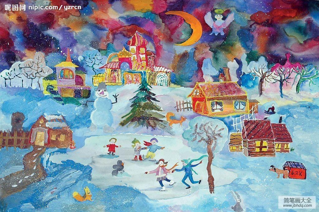 中秋画作|儿童画作品冬天滑雪-一起滑雪啦