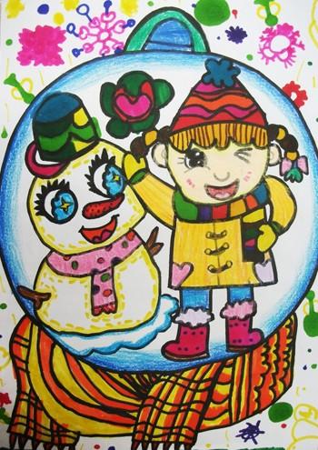 儿童画画学习_儿童画冬天图片大全-我和雪人来合影