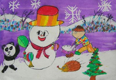 儿童画画学习_儿童画冬天的图片-忙着堆雪人