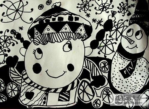 儿童画画学习_儿童画雪人的图片-雪娃娃