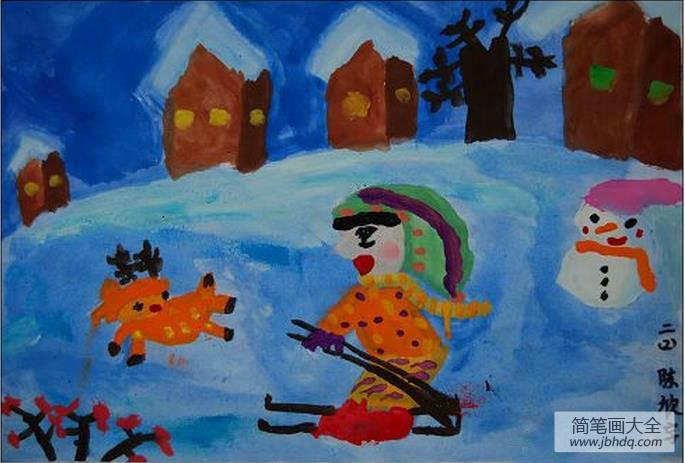 儿童画画学习|儿童画冬天的图画-快乐的冬天