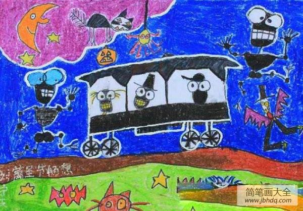 儿童画画学习|儿童画万圣节图片-万圣节畅想