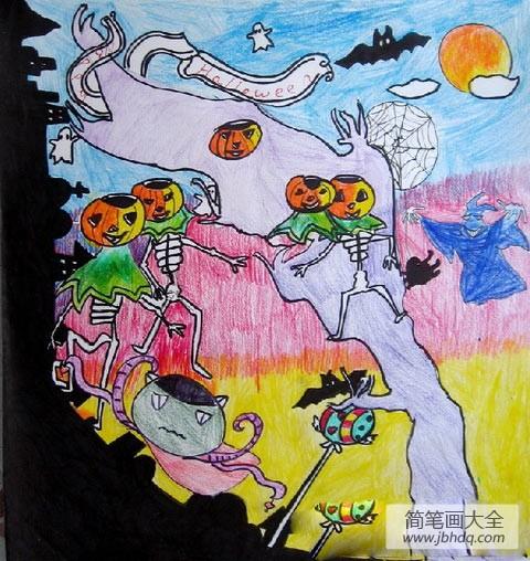 儿童画画学习|儿童画万圣节图片-万圣节狂欢派对