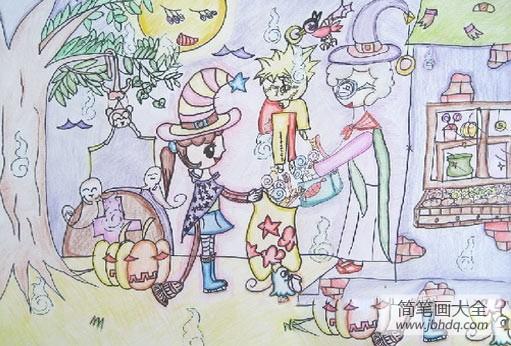 儿童画画学习|儿童画万圣节图片-万圣节去要糖果