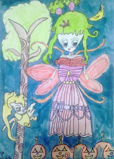 【万圣节是哪天】万圣节儿童画图片-万圣节夜里的小女孩