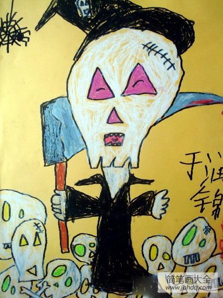 万圣节活动主题|万圣节主题儿童画-万圣节骷髅