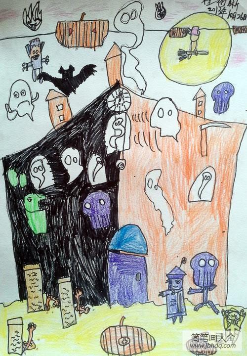【关于万圣节的英语作文】关于万圣节的儿童画-万圣节狂欢派对