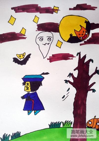 儿童画画学习_儿童画万圣节图片-万圣节的夜晚