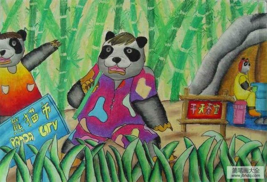 我是大班小朋友绘画|外国小朋友绘画作品-熊猫与竹林