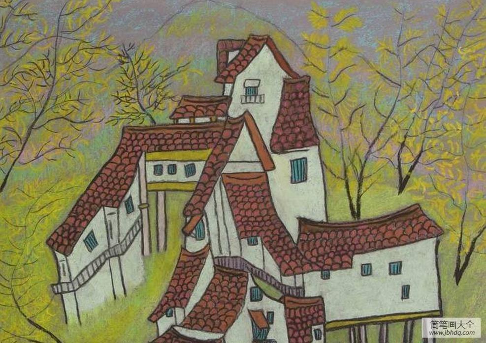 [中秋节绘画优秀作品]外国小朋友绘画优秀作品-老豪宅