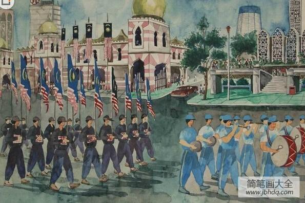 国外创意儿童画-军人大游行