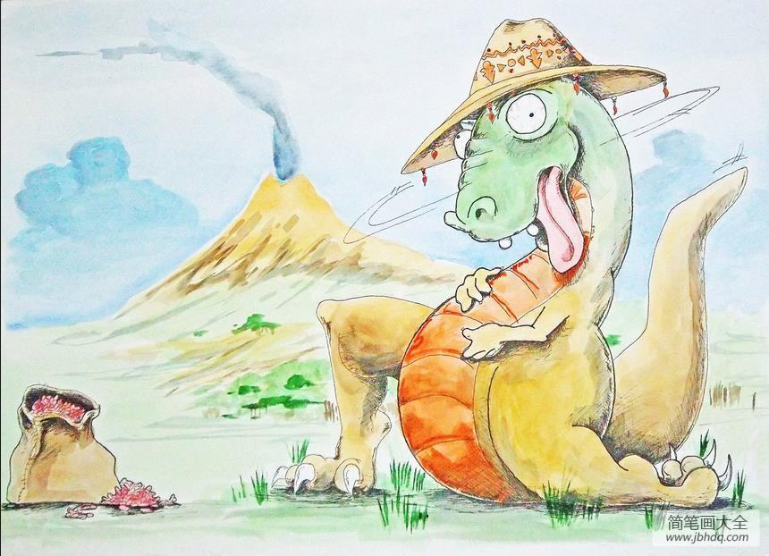 卡通恐龙图片|淘气的恐龙卡通水彩画作品欣赏