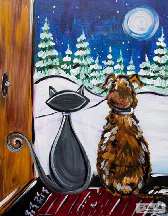赏雪的猫咪和狗,冬天儿童主题绘画在线看