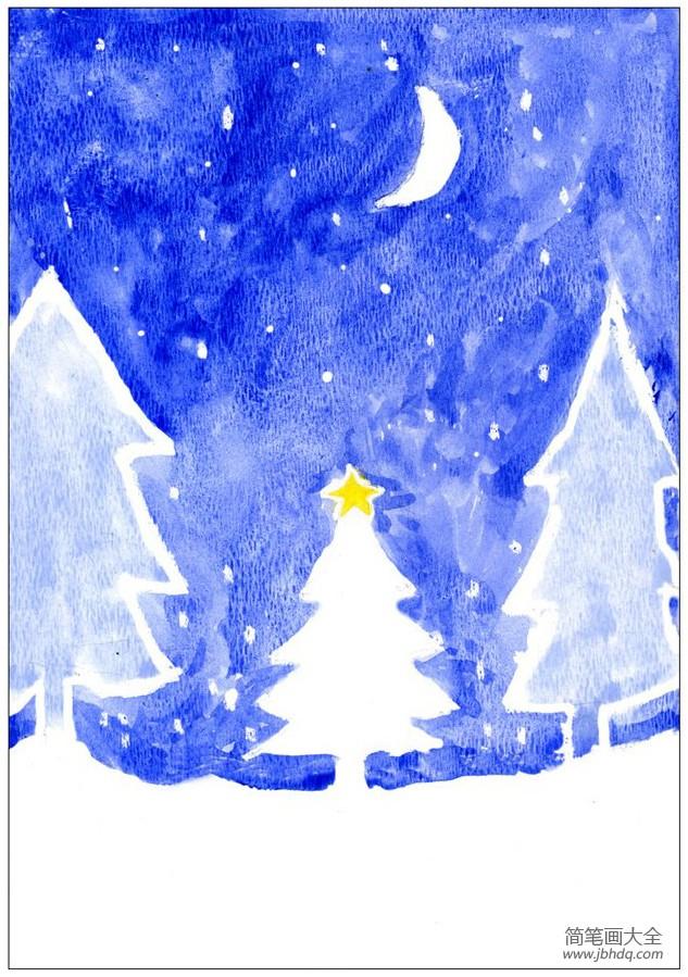 【冬天的景色作文】冬天的景色儿童画图片-雪夜下的森林