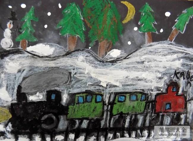 【行动的召唤是什么任务】行动的火车冬天儿童画作品在线看